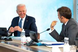 Joe Biden et Emmanuel Macron à l'occasion dusommet du G7 à Carbis Bay (Royaume-Uni), le 13 juin 2021.