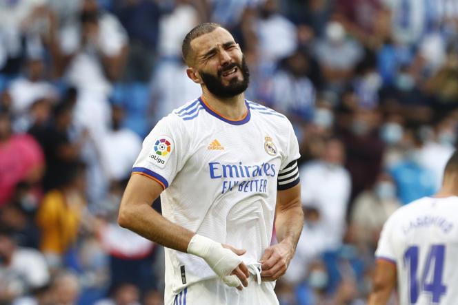 L'attaquant du Real Madrid, Karim Benzema, lors du match de Liga contre l'Espanyol, à Barcelone, le 3 octobre 2021.