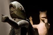 Statues royales anthopo-zoomorphes faisant partie de la restitution des 26 oeuvresau Bénin le 9 novembre.