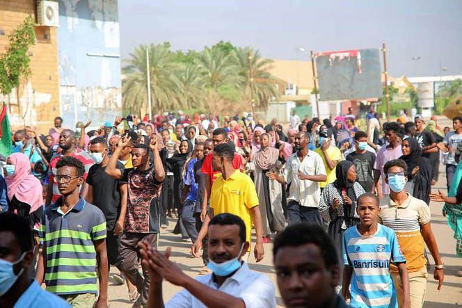 Thousands of pro-democracy protesters took to the streets to condemn the military takeover in Khartoum, Sudan, Monday, October 25, 2021.