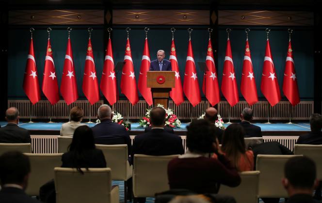Turkish President Recep Tayyip Erdogan addresses the press on October 25, 2021, in Ankara.