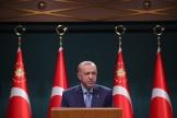 Le président turc Recep Tayyip Erdogan lors d'une conférence de presse, à Ankara, le 25 octobre 2021.
