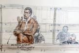 Croquis de salle d'audience réalisé le 27septembre2021 montrant Sid Ahmed Ghlam lors de son procès en appel, à Paris.