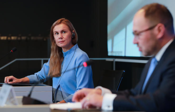 EU Energy Commissioner Kadri Simson and Slovenian Infrastructure Minister Jernej Vrtovec at the Council of EU Energy Ministers in Luxembourg on October 26, 2021.