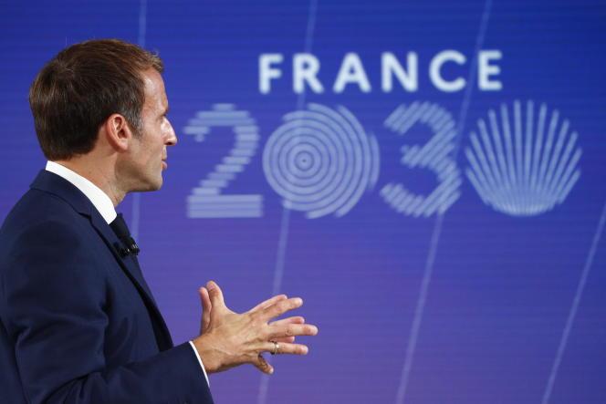 Emmanuel Macron lors de sa présentation du plan «France 2030» au palais de l'Elysée, le 12 octobre 2021.