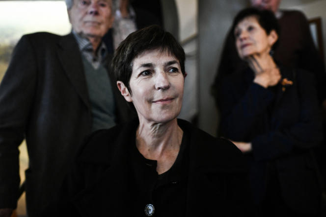 French writer Christine Angot for ?Le Voyage de l'Est? reacts after receiving the Medici Prize in Paris on October 26, 2021.
