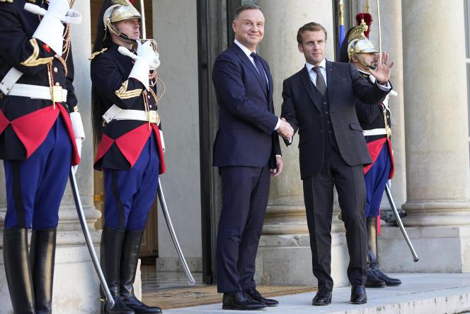 Emmanuel Macron received Polish President Andrzej Duda at the Elysee Palace on Wednesday, October 27, 2021.