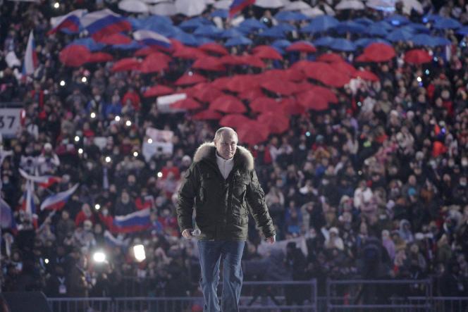 Vladimir Poutine au stade Luzhniki, à Moscou, le 18 mars 2021.