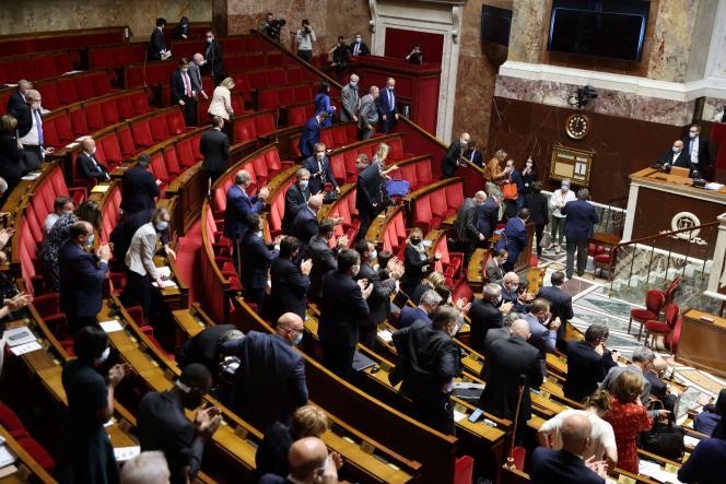 Dans l'hémicycle del'Assemblée nationale, à Paris, en avril 2021.
