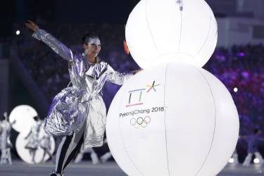 Performers take part in the closing ceremony for the Sochi 2014 Winter Olympic Games February 23, 2014.  REUTERS/Lucy Nicholson (RUSSIA  - Tags: SPORT OLYMPICS)