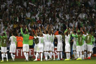 Algerian players reach out to their supporters  after the group H World Cup soccer match between South Korea and Algeria at the Estadio Beira-Rio in Porto Alegre, Brazil, Sunday, June 22, 2014. Algeria won the match 4-2.  (AP Photo/Fernando Vergara)