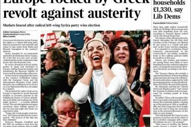 """Le quotidien britannique """"The Times"""" titre sur """"l'Europe secouée par la révolte grecque contre l'austérité""""."""