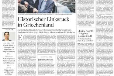 """Sobre, le quotidien conservateur """"Die Welt"""" se contente d'annoncer une victoire historique. Les dirigeants Allemands, favorable à l'application d'une politique de rigueur pour redresser les finances grecques, a scruté cette élection avec de nombreuses incertitudes."""